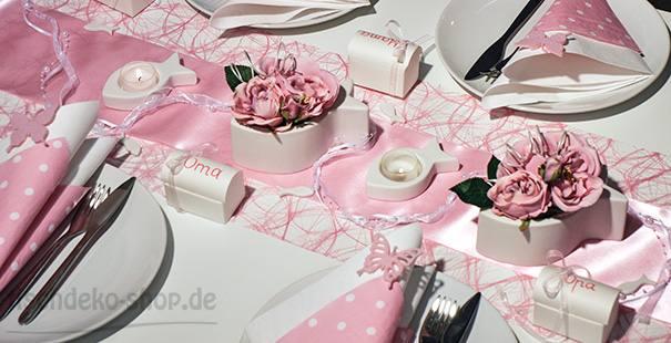 Tischdekoration Creme Rosa Tischdeko Taufe Hochzeit Neu Pictures to ...