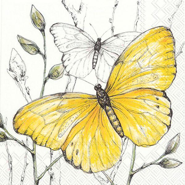 Serviette Colourful Butterlies Yellow 33x33cm 20er Pack bei Tischdeko-Shop.de