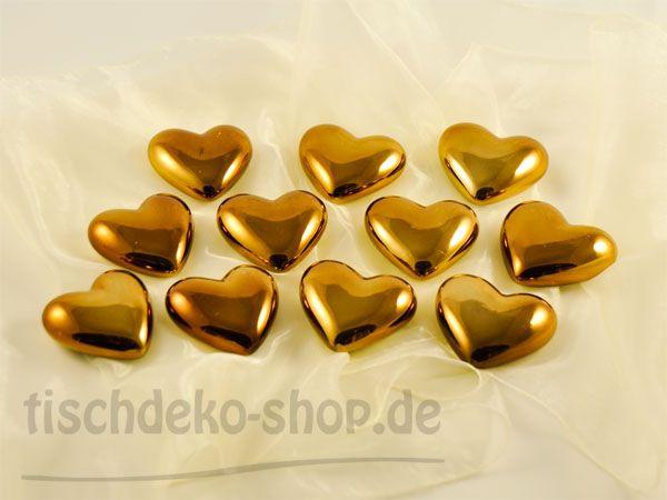 Herzen-Keramik verspiegelt, Gold-Bronze 12er Set Ø 7cm