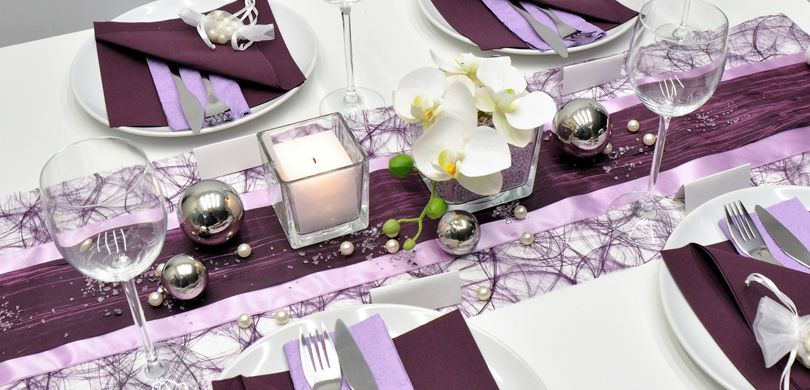 Tischdekoration In Der Farbe Aubergine Kaufen