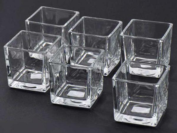 Teelichthalter Glas 6x6x6cm 6er Vorteils-Set konisch bei Tischdeko-Shop.de