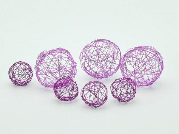 Deko-Kugeln Drahtgeflecht violett 7-teilig 2 Größen
