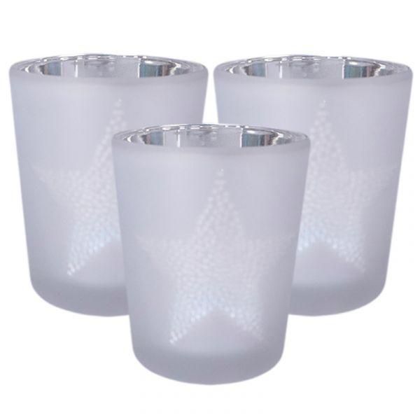 Teelichthalter Star Dots Silber Weiß mit Sternmotiv 3er-Set