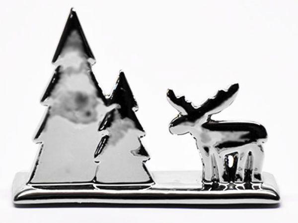 Elch mit Tannenbäumen Keramik Silber 15cm