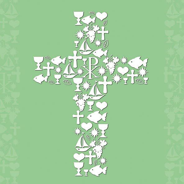 Serviette Communion Ornaments green 33 x 33 cm