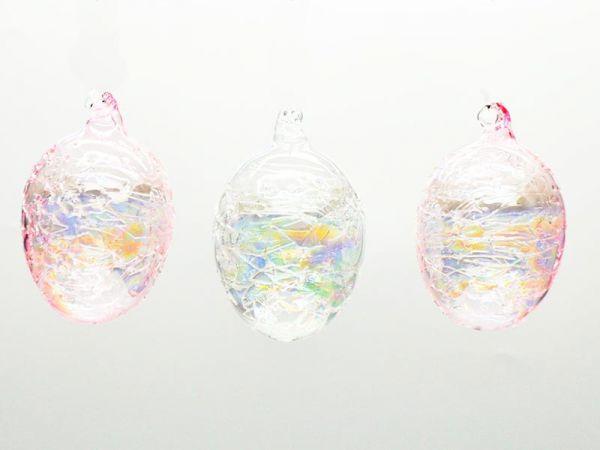 Glas Ei Hänger Craquelle 6x9.5cm rosa 3er Box