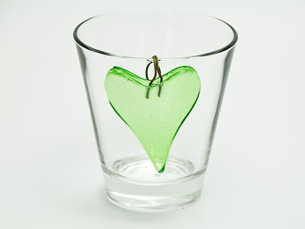 Herz Grün 5cm 12er Set mit Aufhänger ohne Glas