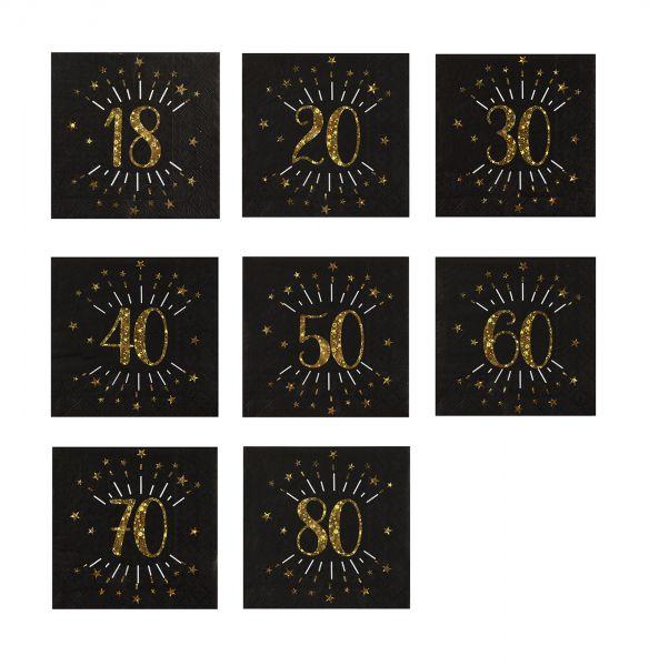 Serviette für Geburtstag Schwarz / Gold 33x33cm 10 Stück Zahlenmotiv
