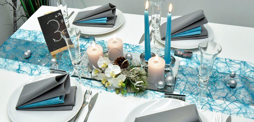 Tischdekoration In Silber Turkis Kaufen Tischdeko Shop