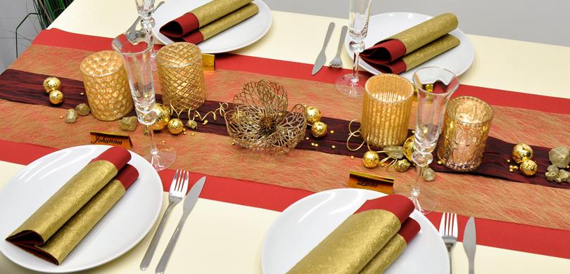 tischdekoration in gold dunkelrot kaufen tischdeko shop. Black Bedroom Furniture Sets. Home Design Ideas