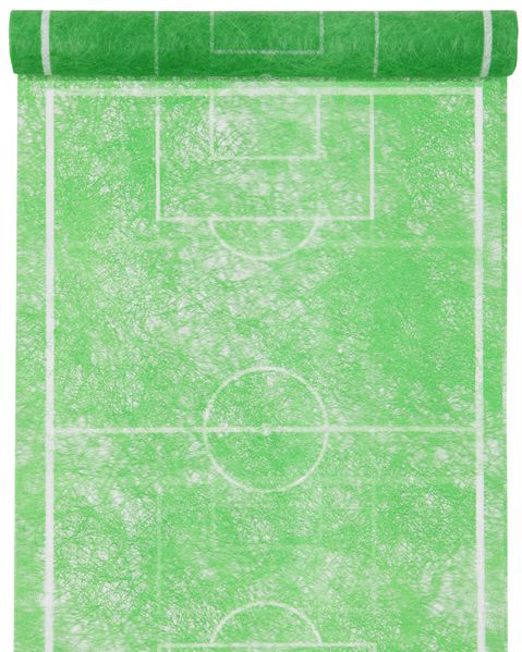 Tischläufer Vlies 0,30 x 5 m Grün mit Fußball-Feld-Motiv