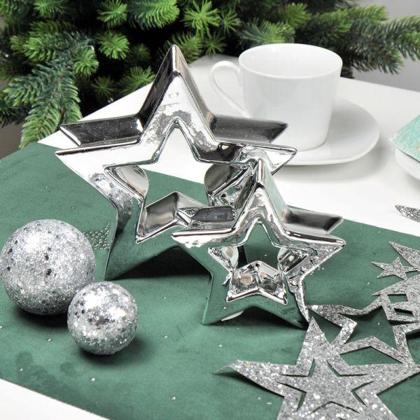 Deko-Band Sterne Silber Vlies mit Glitter 13 x 100 cm bei Tischdeko-Shop.de