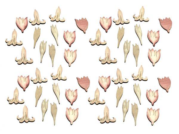 Streublüte Lilien Holz Vintage-Rosa sortiert 48er Vorteilspack bei Tischdeko-Shop.de