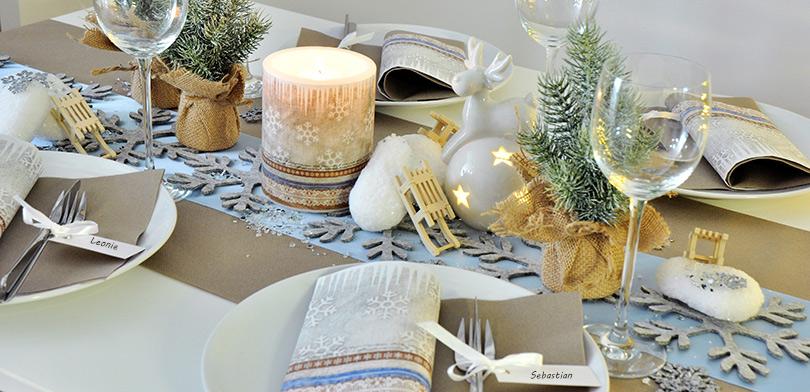weihnachtliche tischdekoration x mas fabric. Black Bedroom Furniture Sets. Home Design Ideas