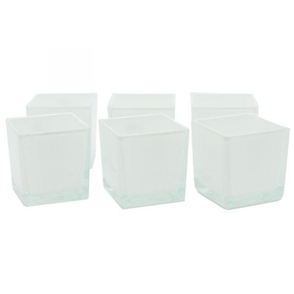 Quadratische Glas-Vase Windlicht leicht konisch Weiß 10x10 cm 6er Set