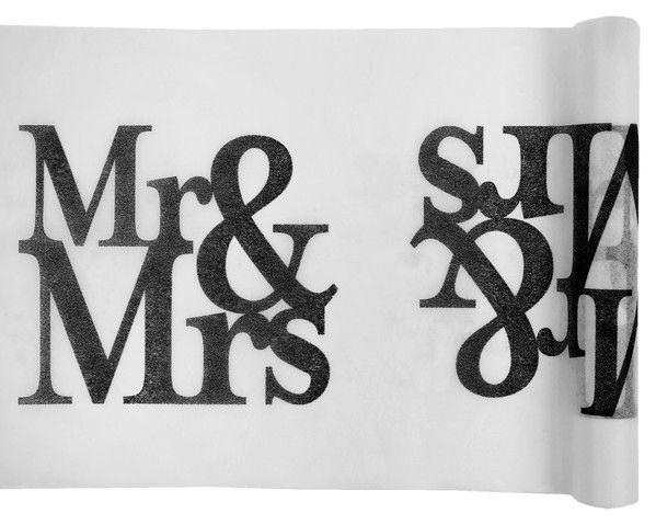 Tischläufer Hochzeit Mr.& Mrs. Vlies Weiß 30cm x 5 Meter