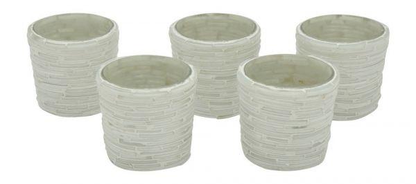 Teelichthalter Mosaik rund Weiß/Grau 6cm 5er-Set bei Tischdeko-Shop.de