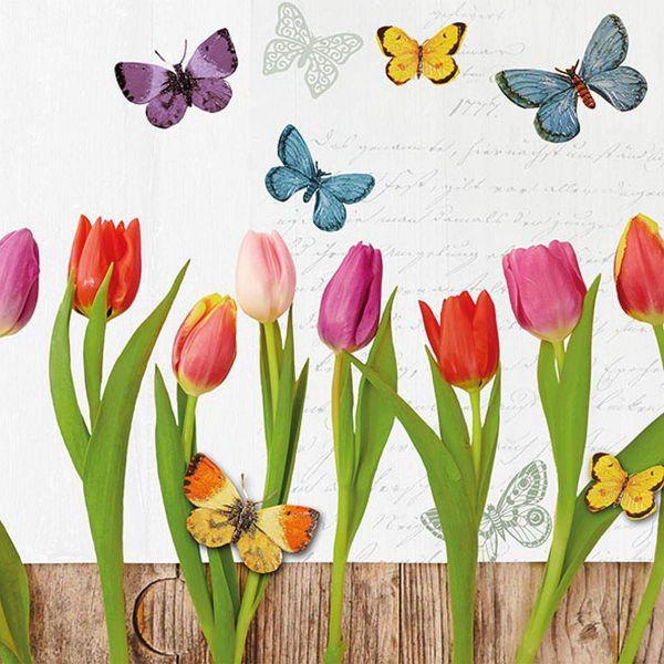 Motiv-Serviette Spring Collage White 33x33cm 20er Pack bei Tischdeko-Shop.de