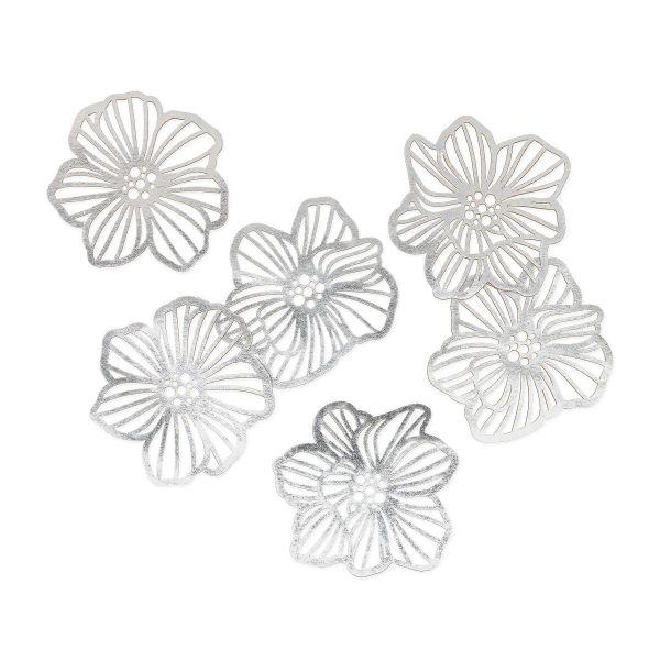 Blüten Streudeko Silber Natur 6er Set bei Tischdeko-Shop.de