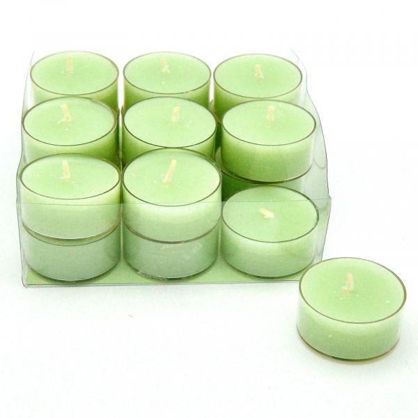 4-Stunden-Teelichter Softgrün 18-Stück-Spar-Packung bei Tischdeko-Shop.de