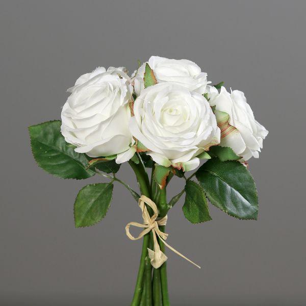 Rosenstrauß Weiß 6 Blüten D17 cm bei Tischdeko-Shop.de