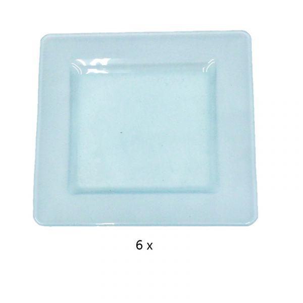 Teller Glas 17x17cm satiniert 6er Set