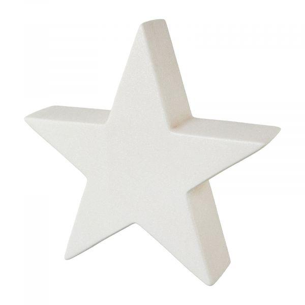 Stern Weiß Glitter stehend Keramik 19 cm Weihnachtsdeko bei Tischdeko-Shop.de
