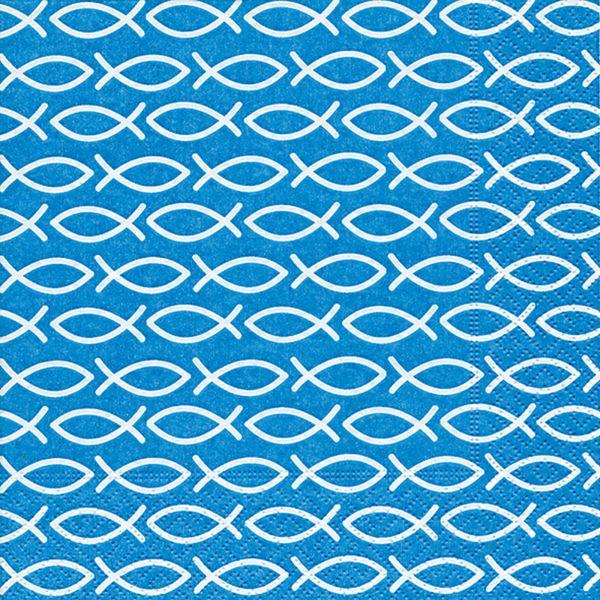 Serviette Religouis Blue 33x33cm 20er Pack bei Tischdeko-Shop.de
