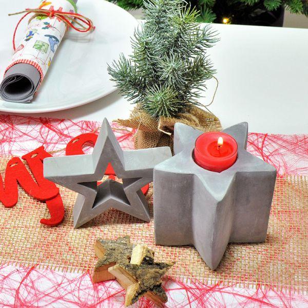 Dekobeispiel Teelichthalter Stern Festivus Zement 11,5 x 10 cm 4er Set bei Tischdeko-Shop.de