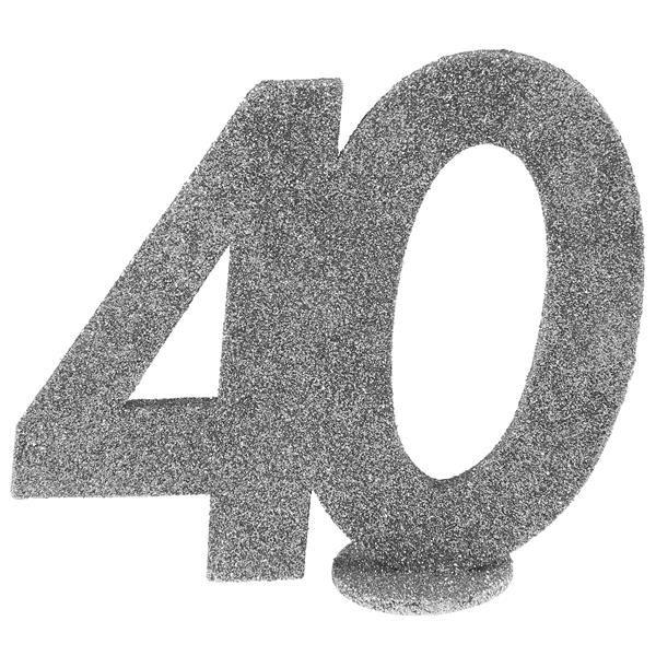 Jubiläums - Zahl 40 Silber Glitter Aufsteller