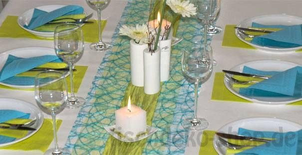 Tischdeko konfirmation blau grün  Tischdekoration in der Farbe Türkis kaufen