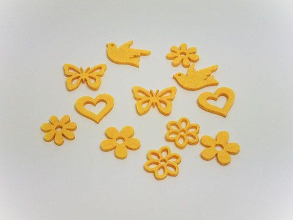 Filz Sortiment Frühling Gelb 6 Motive