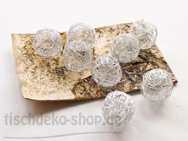 Drahtbälle Silber Ø 50mm 8 Stück