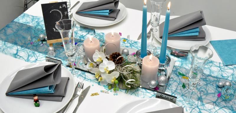 Tischdekoration in Türkis / Silber kaufen   Tischdeko-Shop