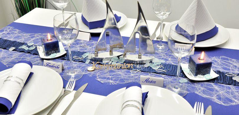 Tischdekoration In Blau Mit Schiffen Kaufen Tischdeko Shop