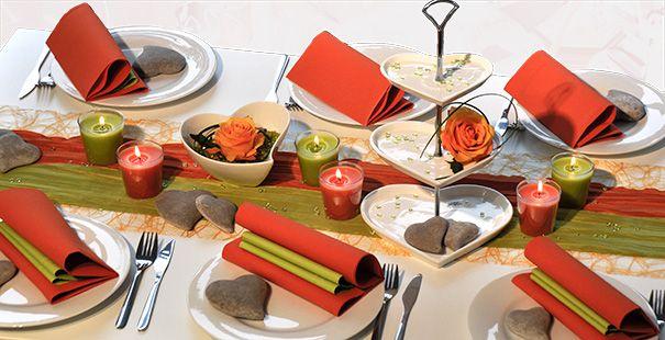 Tischdekoration In Orange Grun Kaufen Tischdeko Shop