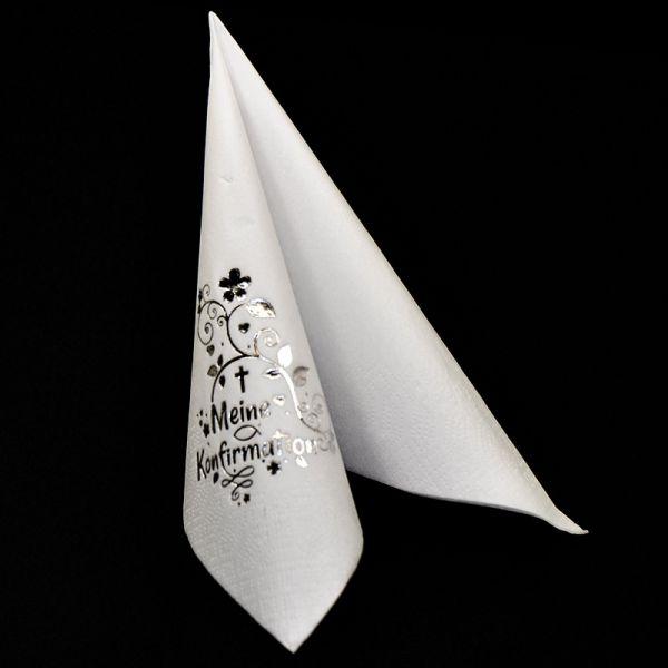 Servietten Weiß Silber-Prägung Konfirmation 33x33cm 10 Stück bei Tischdeko-Shop.de
