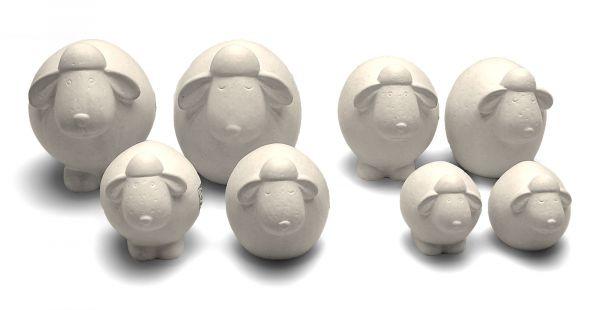 Deko-Schafe Keramik Weiß 2er Set in 4 Größen bei Tischdeko-Shop.de