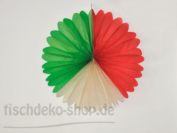 Deko-Fächer Grün, Weiß, Rot rund 50cm bei Tischdeko-Shop.de