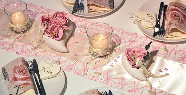 Tischdekoration In Rosa Champagne Mit Herz Kaufen Tischdeko Shop