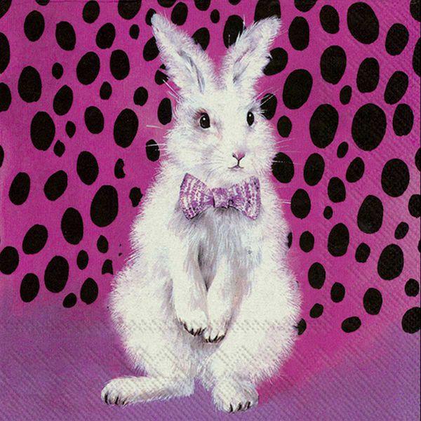 Serviette Bad Hair Bunny Fuchsia 33x33cm bei Tischdeko-Shop.de