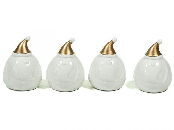 Deko Nikolaus Weihnachtsmann Weiß Gold Porz. 9cm 4er Set