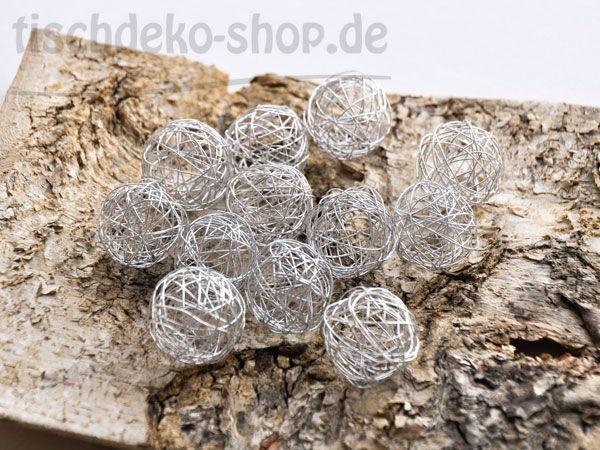 Drahtbälle Silber Ø 30mm 12 Stück