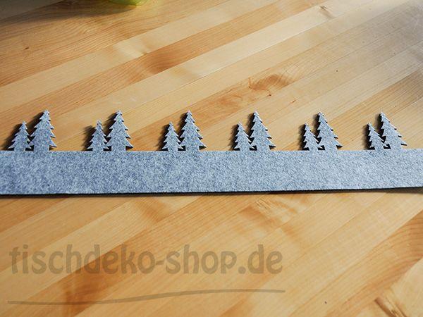 Filzband 60x15cm grau Tannen