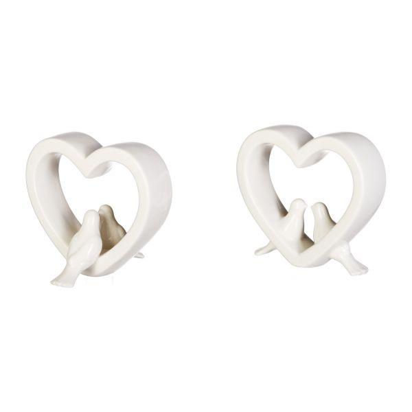 Herz mit Taubenpaar Keramik 20.5x5x18cm 2er Set