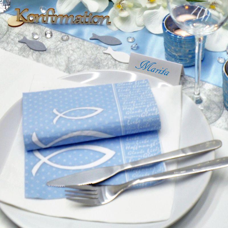 Tischdeko In Silber Und Blau Zu Kommunion Konfirmation Tischdeko