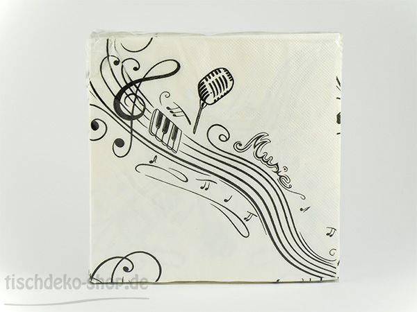Serviette 33x33cm Music 20er Pack