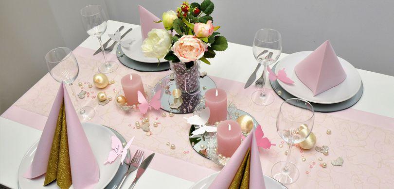 Tischdekoration Zur Goldhochzeit In Rosa Und Gold