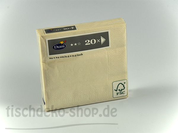 DUNI Serviette Champagne 24 X 24 cm 20er Pack