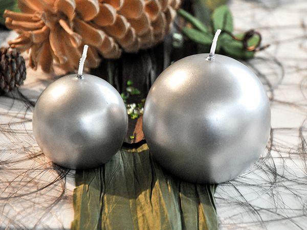 Kugel-Kerze Silber